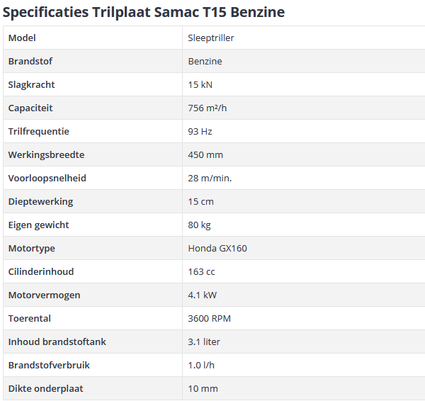 specificaties trilplaat Samac T15