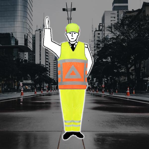 Stopteken voor het verkeer in vrije richtingen