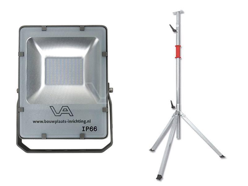 LED-bouwlamp 72 Watt SMD met telescoopstatief Prof 3-delig