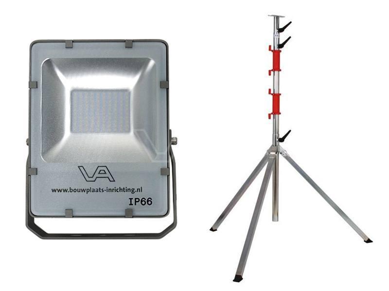 LED-bouwlamp 12 Watt SMD met telescoopstatief Prof 4-delig