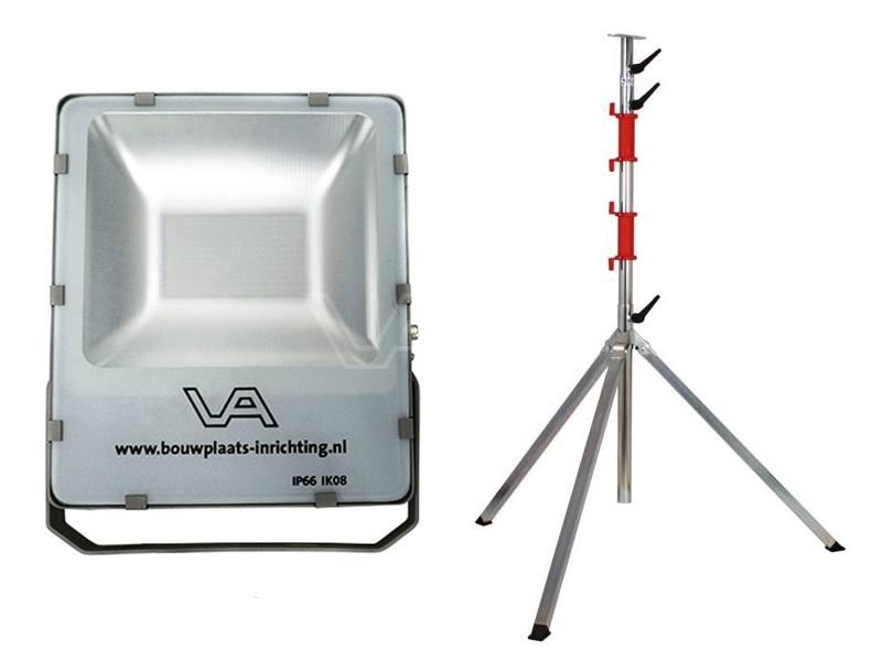 LED-bouwlamp 200 Watt SMD met telescoopstatief Prof 4-delig