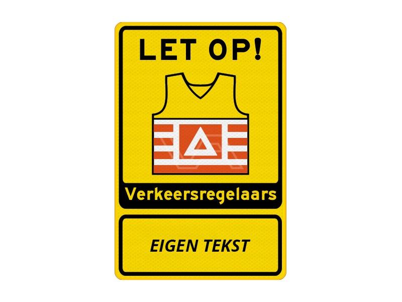 Verkeersbord VKR02 – Let op! Verkeersregelaars met tekst Geel