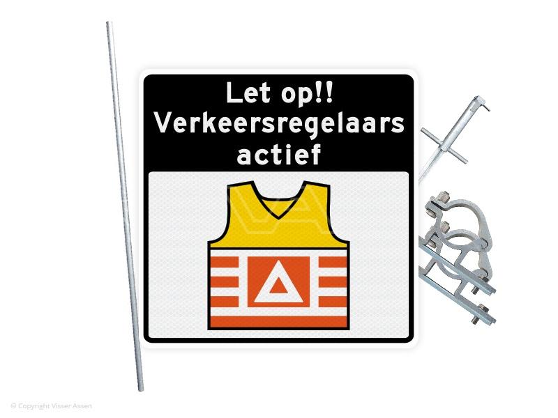 Verkeersbord VKR05 60 x 60 cm | Set met mast, slagpot + beugels