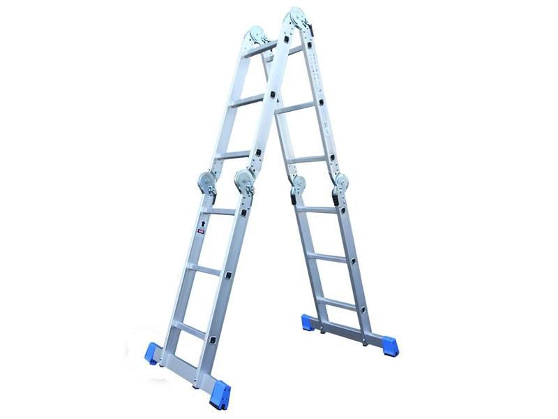 Vouwladder 4 x 3 met inlegbordes bouwplaats - Buitenste trap ...