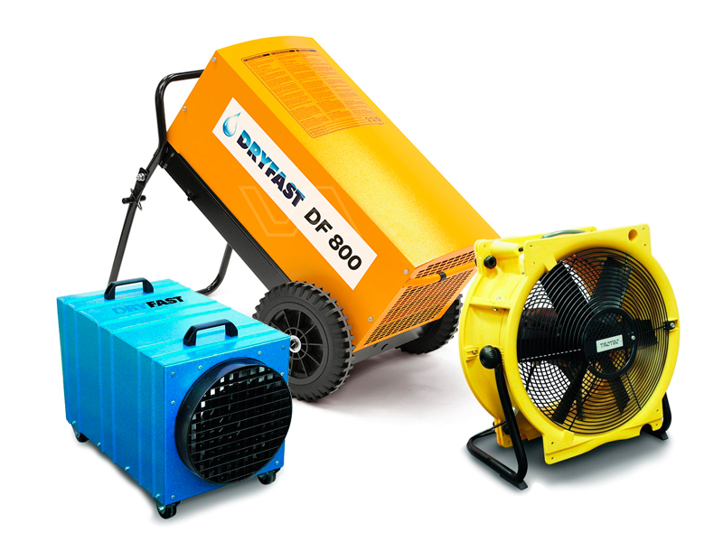 Bouwdroger DF 800 + ventilator + kachel