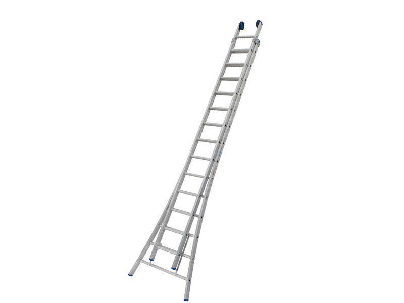 Ladder uitschuifbaar 2-delig 2 x 14 + gevelrollen