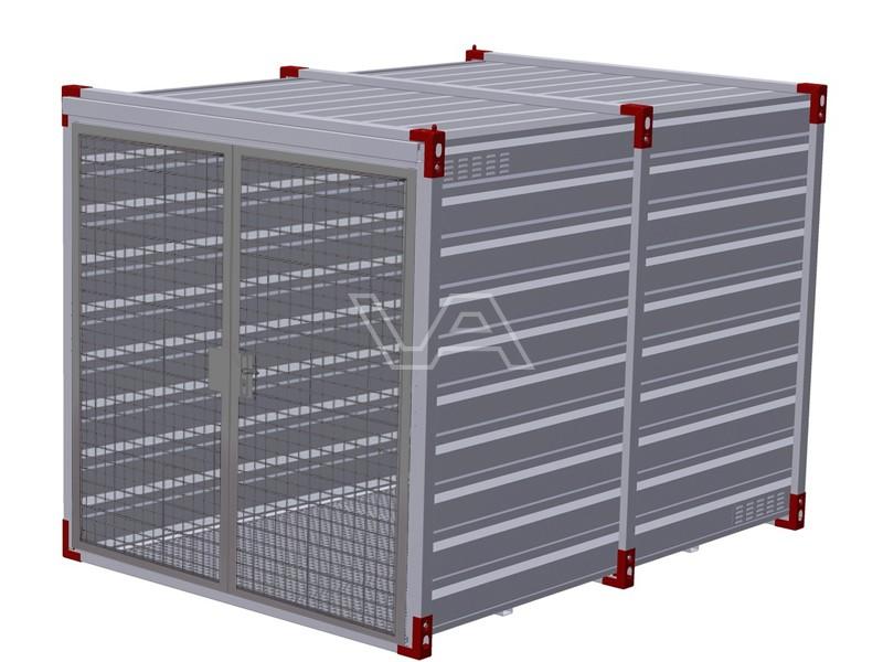 Milieucontainer 3 meter met gaasdeuren