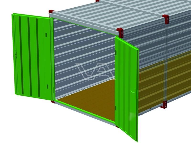 Deuren met frame voor materiaalcontainer