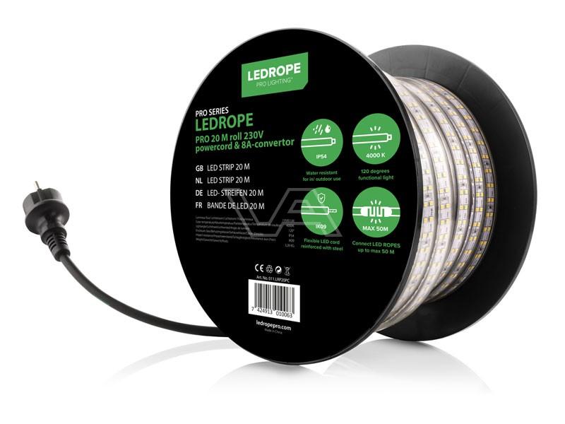 Lichtslang LedRope Pro 20m + stroomkabel 1.5m 230V