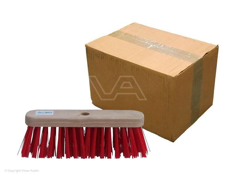 Bezem PVC rood kap plat 28 cm| 10 stuks