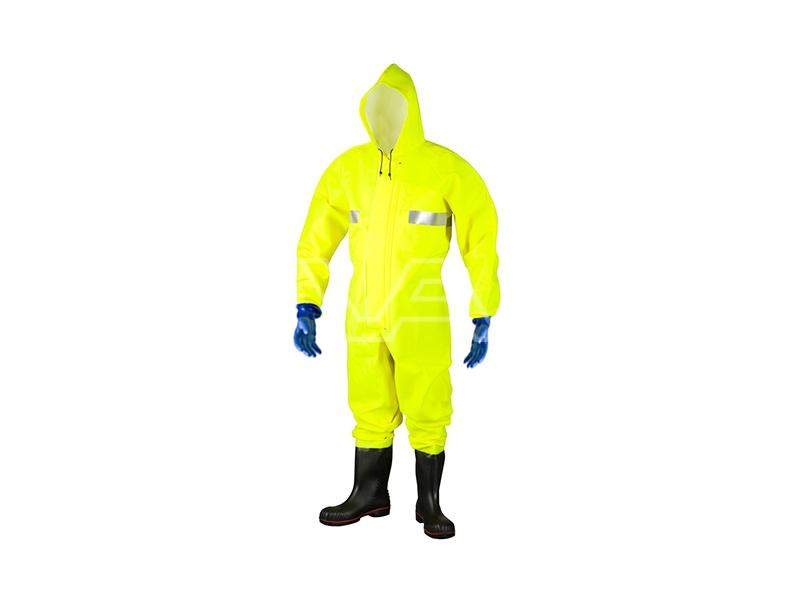 Waadpak coverall Fluor Geel met veiligheidslaarzen (S5) maat XL