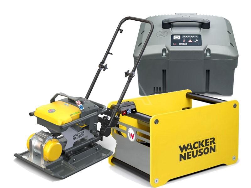Accu-trilplaat Wacker AP 1850e + accu + snellader