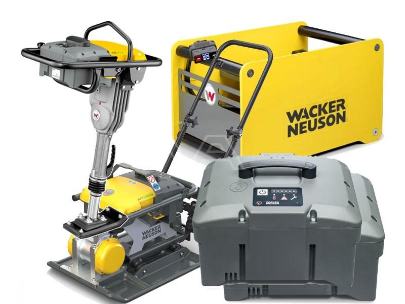Trilplaat Wacker AP 1850e + trilstamper AS 30e + 2 accu's + snellader