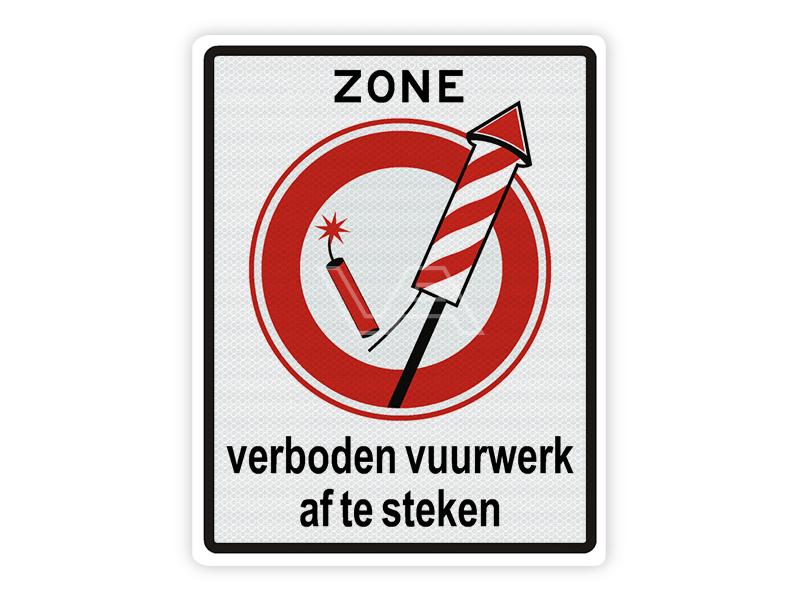 Verkeersbord ZONE Vuurwerkverbod
