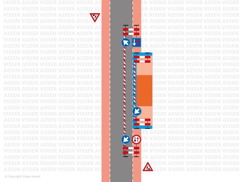 Wegafzetting fietspad over rijbaan > 2 uur 1124a
