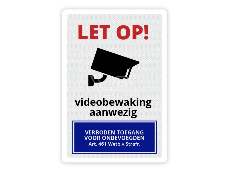 Verkeersbord Videobewaking aanwezig CB06 40 x 60 cm