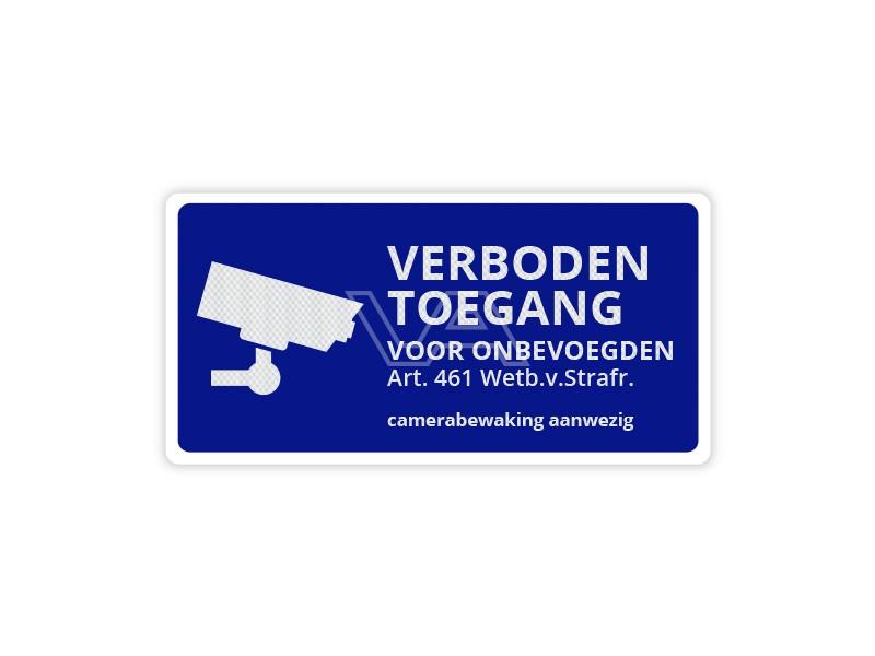 Verkeersbord Verboden Toegang Camerabewaking CB13 40 x 20 cm