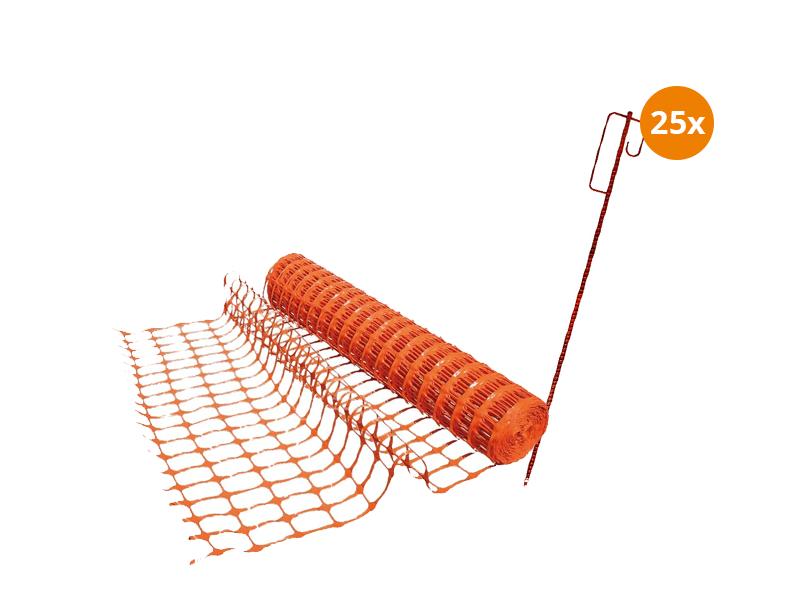 Prikpen 25 stuks met 2 rol afzetgaas van 50m per rol