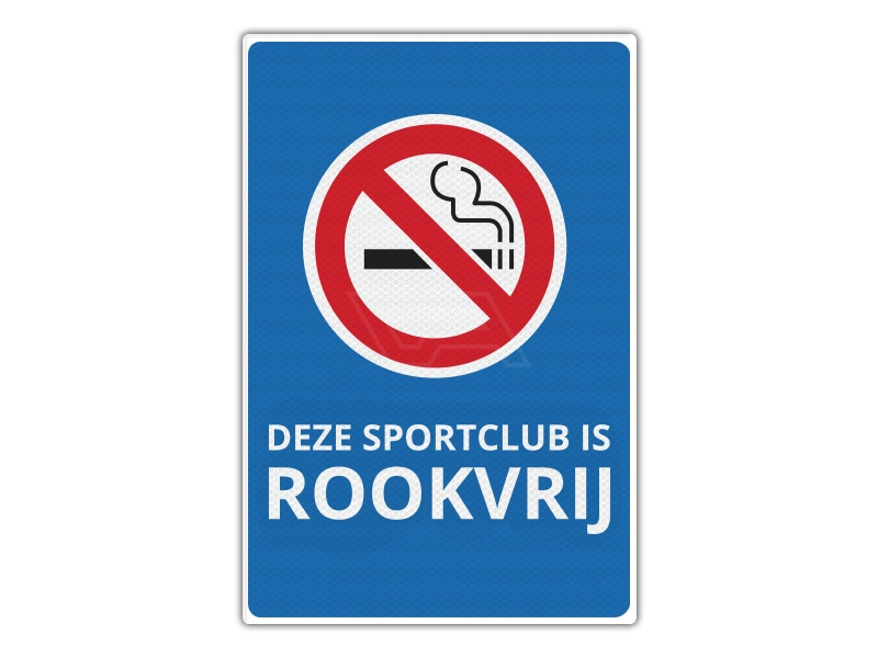 Verkeersbord RV13 - Deze Sportclub is Rookvrij 40 x 60
