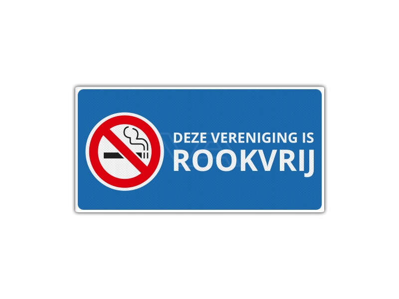 Verkeersbord RV14 - Deze Vereniging is Rookvrij 40 x 20