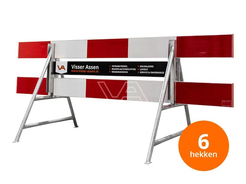 Afzethek 250cm aluminium enkelzijdig compleet met middenplank | 6x