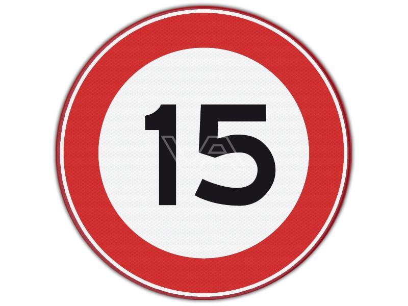 Verkeersbord RVV A01-15 - Maximumsnelheid 15 km