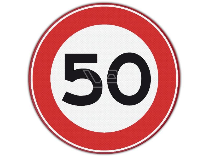 Verkeersbord RVV A01-50 - Maximumsnelheid 50 km