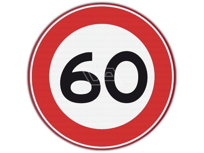 Verkeersbord RVV A01-60 - Maximumsnelheid 60 km