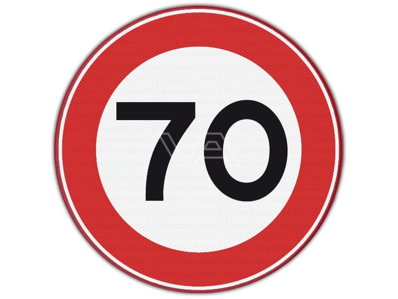 Verkeersbord RVV A01-70 - Maximumsnelheid 70 km