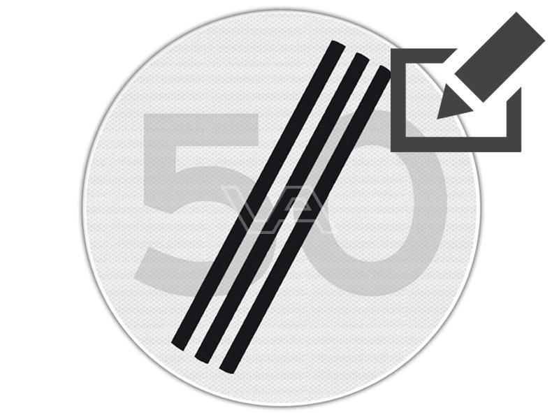 Verkeersbord RVV A02  - Einde maximumsnelheid Ø 60 cm