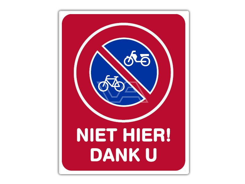 Parkeerbord IB02 - (Brom-)fietsen niet hier - bord dor lak 20 x 25