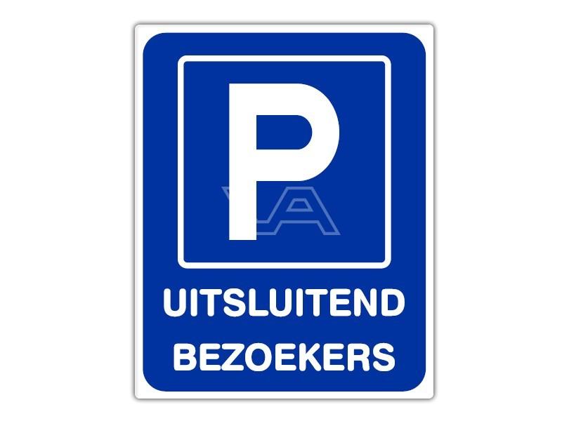 Parkeerbord IB51 bord dor lak 20 x 25 P Uitsluitend Bezoekers