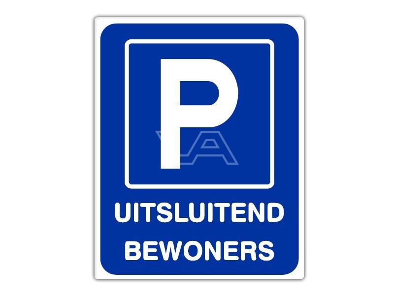 Parkeerbord IB54 bord dor lak 20 x 25 P Uitsluitend Bewoners