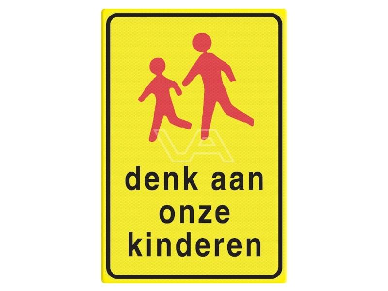 Verkeersbord RVV L303 'Denk aan onze kinderen'