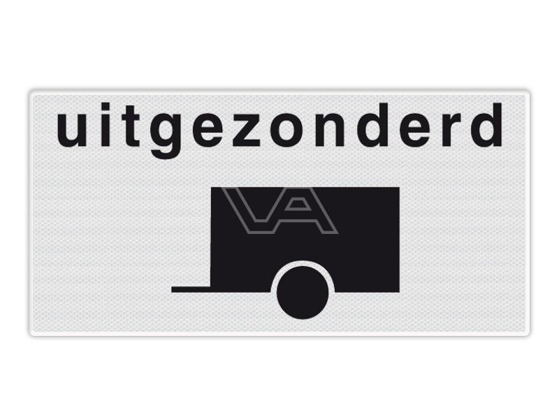 Onderbord RVV OB60 - Uitgezonderd aanhangwagens
