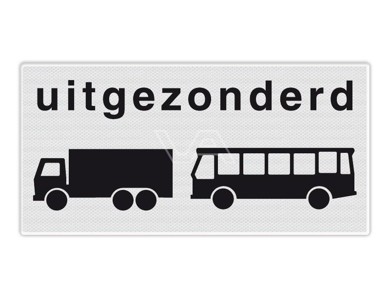 Onderbord RVV OB63 - Uitgezonderd vrachtwagens en bussen
