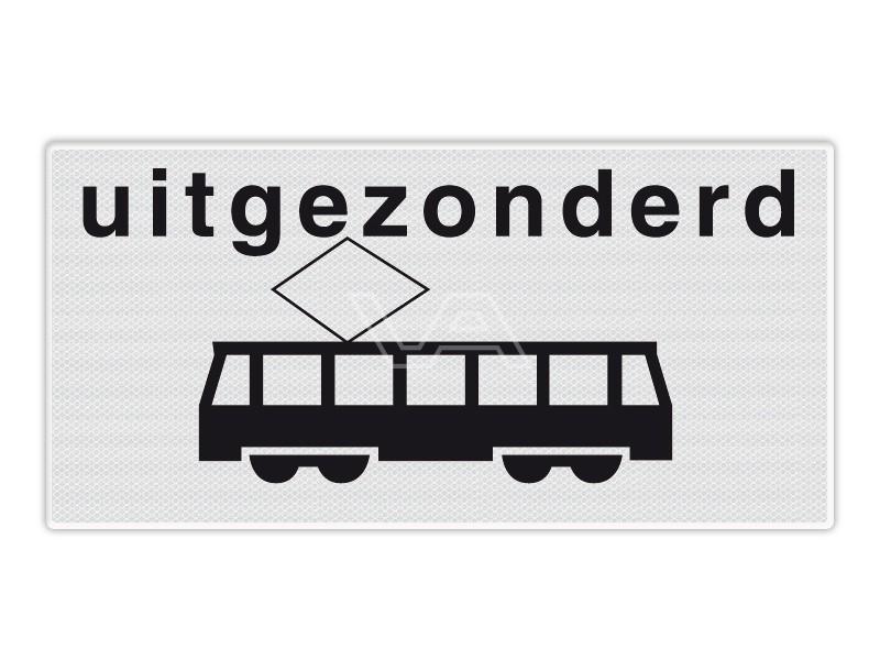 Onderbord RVV OB64 - Uitgezonderd trams