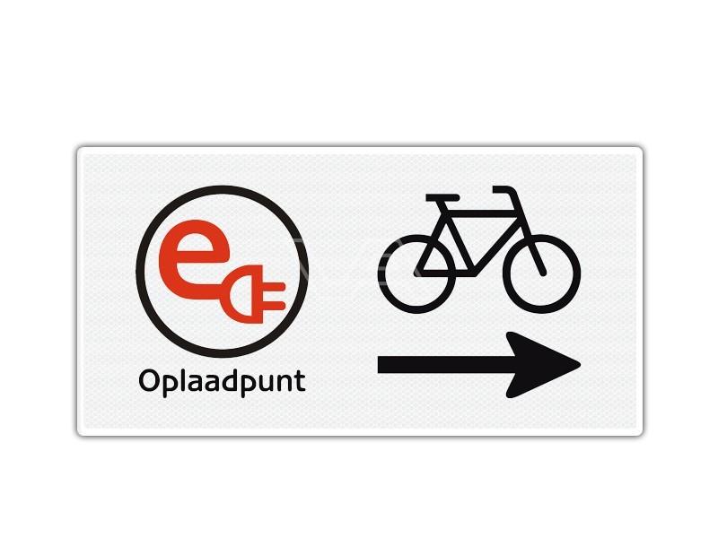 Verkeersbord Opladen elektrische fiets rechts
