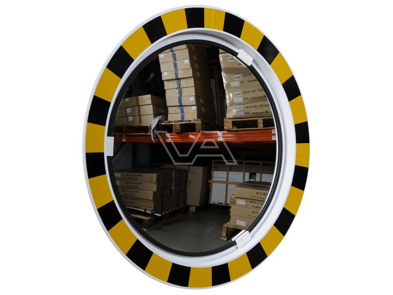 Industriespiegel acryl rond 60 cm met geel-zwarte rand