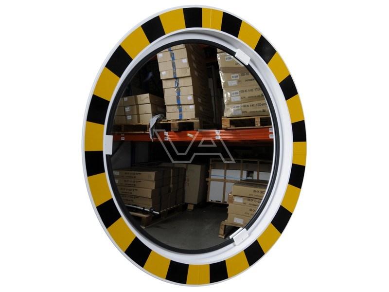 Industriespiegel polycarbonaat rond Ø 60 cm met geel-zwarte rand