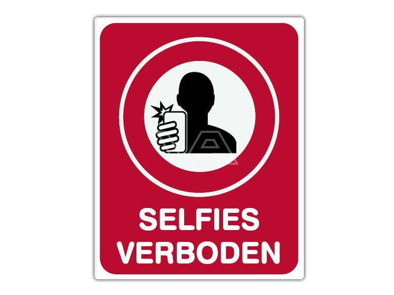 Informatiebord IB15 - Selfies verboden -  bord dor lak 20 x 25
