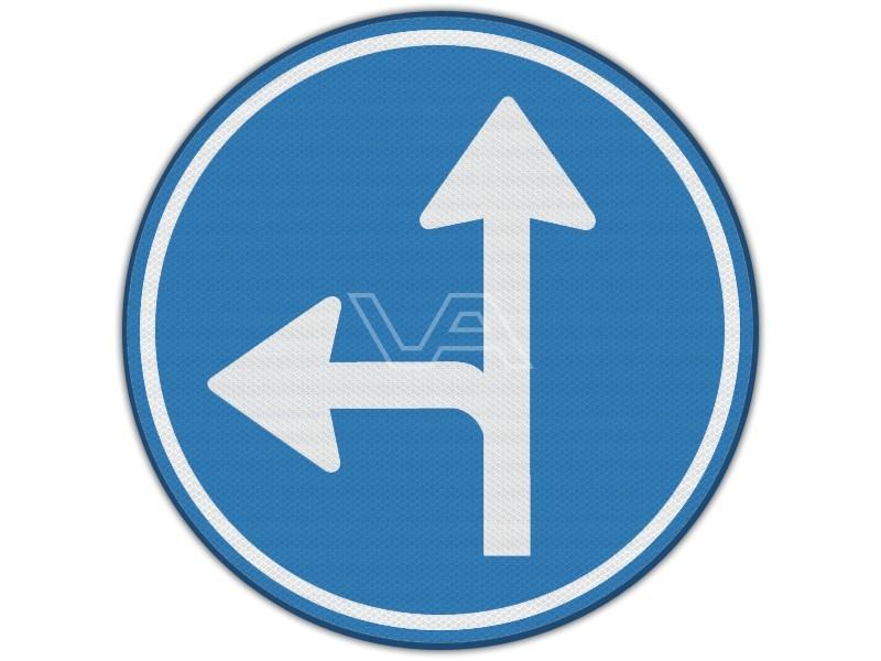 Verkeersbord RVV D06l - Rechtdoor of linksaf