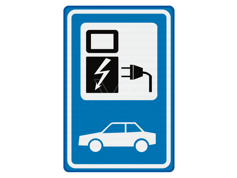 Verkeersbord BW101Sp19 - Parkeren elektrische auto 40 x 60 cm