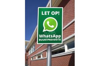 Verkeersbord WhatsApp BUURTPREVENTIE maakt de buurt weer veilig
